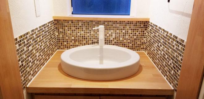 お手入れしやすいタイル洗面所