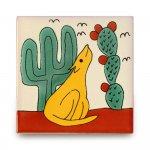 メキシコタイル柄 100角・犬とサボテン