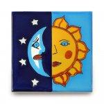 メキシコタイル柄 100角・月と太陽
