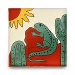 メキシコタイル柄 100角・太陽とトカゲ