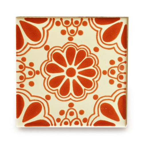 メキシコタイル柄 100角・花柄・赤
