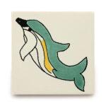 メキシコタイル柄 110角・イルカ