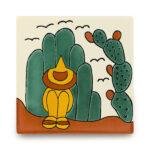 メキシコタイル柄 110角・旅人、サボテン