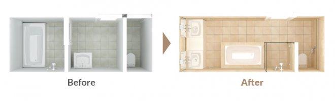 自由設計バスルーム:ベーシックプラン・レイアウト例