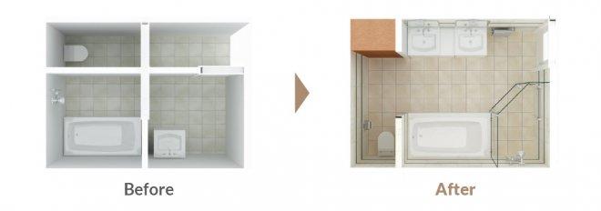 自由設計バスルーム:スイートプラン・レイアウト例