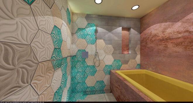 浴室リノベーション3Dパース:浴槽・ニッチ