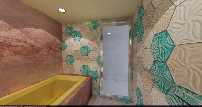 浴室リノベーション3Dパース:出口側