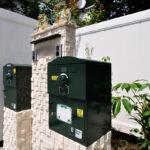 天然サンゴ石の門柱と宅配ボックス「Brizebox」