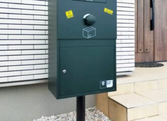 がくじん様邸/宅配ボックス Brizebox Large ダークグリーン:ポール施工