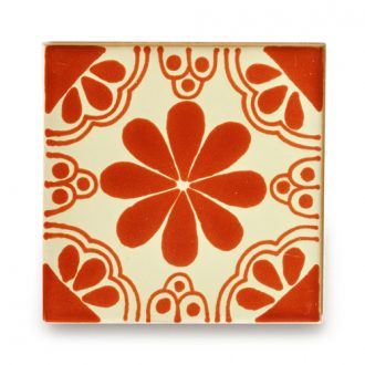 メキシコタイル柄 100角 ・花柄 赤