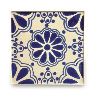 メキシコタイル柄 100角・青