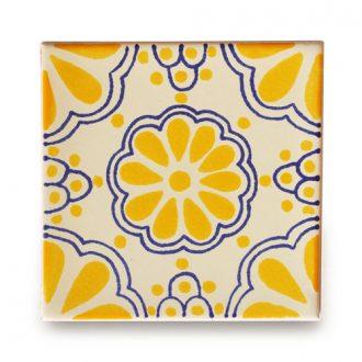 メキシコタイル柄 100角 ・黄色