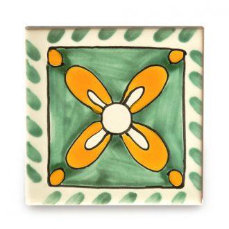 メキシコタイル柄 100角・花柄・緑