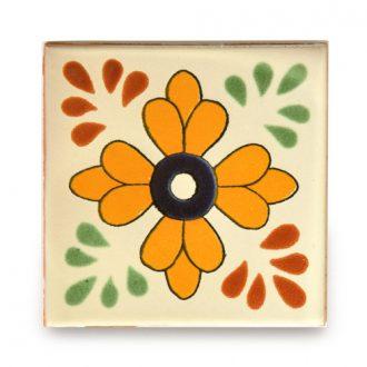 メキシコタイル柄 100角・花柄 黄色