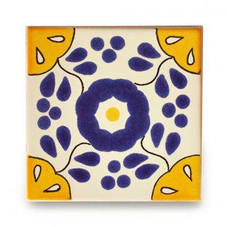 メキシコタイル柄 100角・青黄