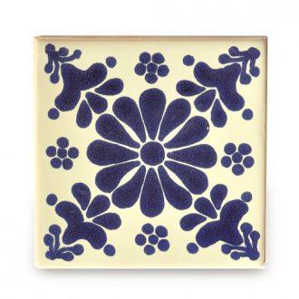 メキシコタイル柄 100角・花柄 青