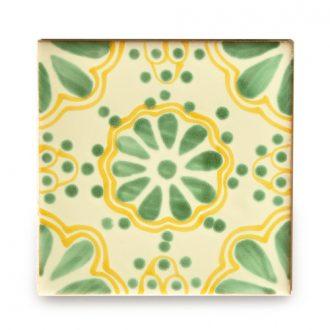 メキシコタイル柄 100角・緑