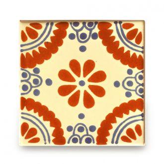 メキシコタイル柄 100角・赤