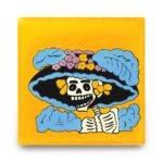 メキシコタイル柄 100角・死者の日(ドクロ)