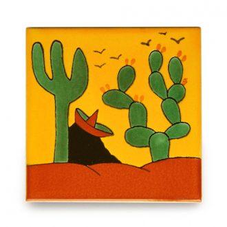 メキシコタイル柄 100角・サボテンと旅人